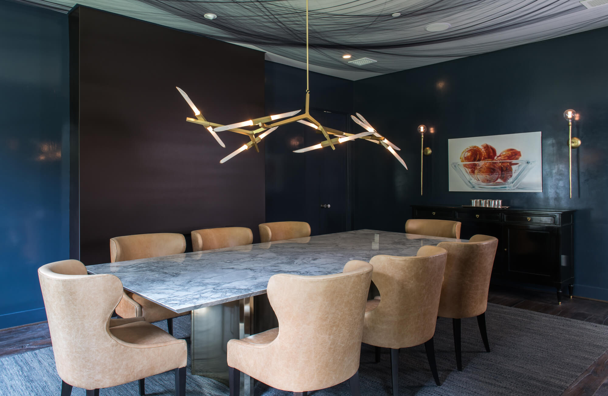 Farnham House dining room, moody walls, interior design, Studio Mackay